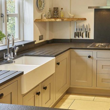 Large black natural stone kitchen work surface
